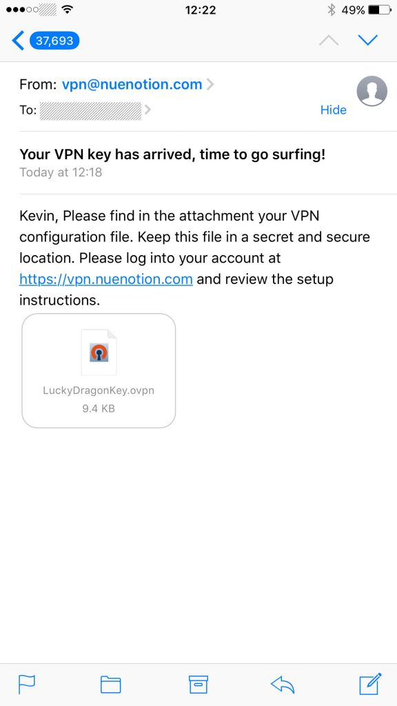 iPhone VPN Install - Email message