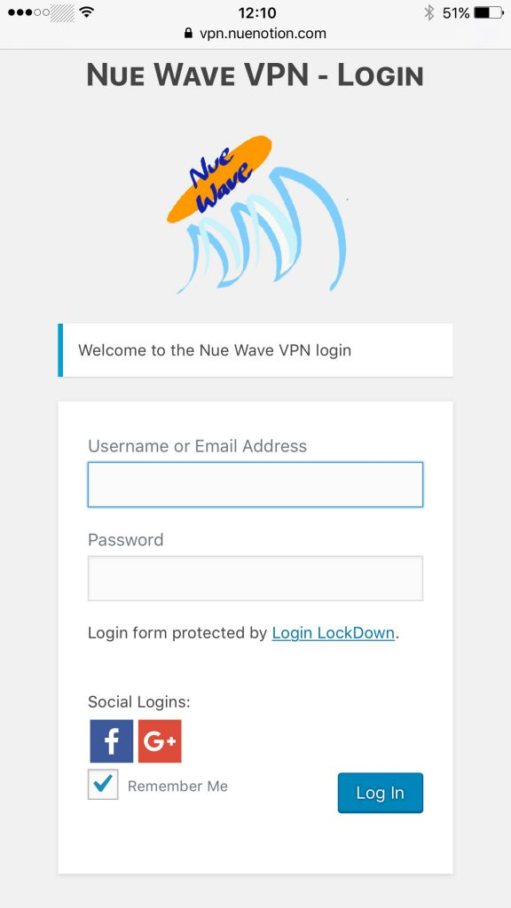 iPhone VPN Install - Login mobile view