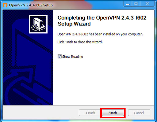 Windows VPN Install – Software Installation Wizard Complete
